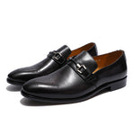 Metal Chain Buckle Medallion Perforated Toe Men Leather Loafer Shoes