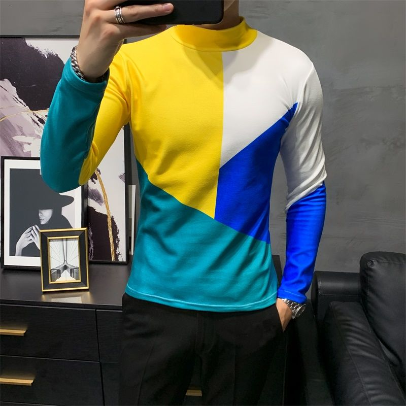 Abstract Multicolor Long Sleeve Turtleneck T-Shirt