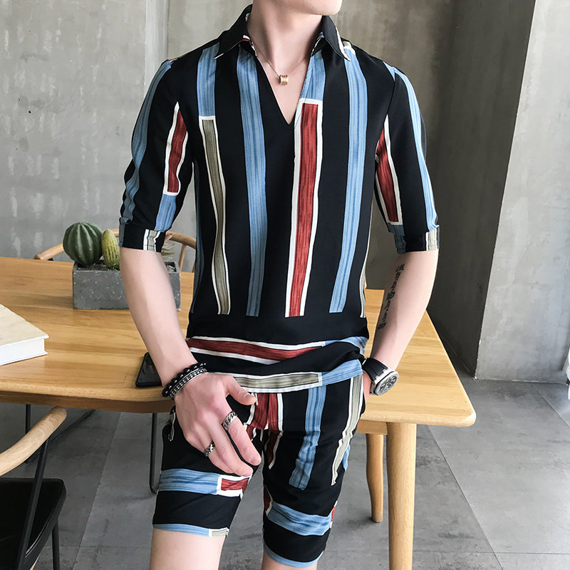 Colorful Stripe Men Shirts And Short Pants Set - FanFreakz