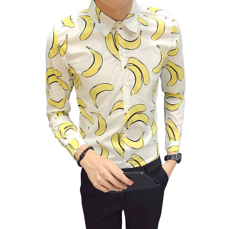 Fun Banana Print Turn Down Collar Men Slim Fit Shirt - FanFreakz