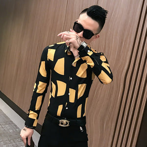 Long Sleeve Mix Print Slim Fit Style Men Shirts