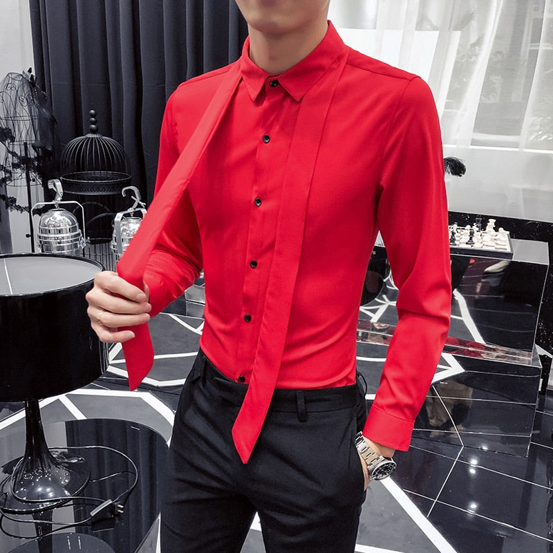 Solid Casual with Western Tie Style Men Slim Fit Shirts