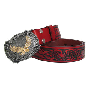 Eagle Totem Copper Smooth Buckle Men Vintage Style Leather Belt - FanFreakz