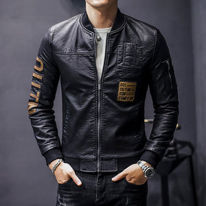 OUTN Letter Patch Detail Biker Style Men Faux Leather Jacket