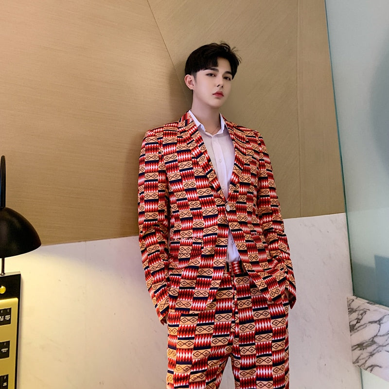 Occasional Graph Pattern Set Blazer and Pant Style Men Suit