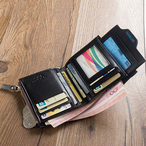 Bifold with Extra Fold and inside Zipper Men Soft Leather Minimalist Wallet - FanFreakz