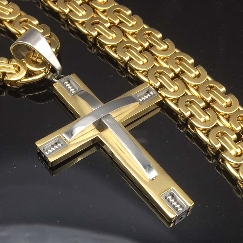 Byzantine Box Chain Link Gold/Silver Tone Men Stainless Steel Cross Pendant Necklace - FanFreakz
