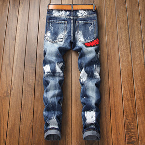 Multi Patches Embroidery with Paint Brush Style Men Straight Jeans