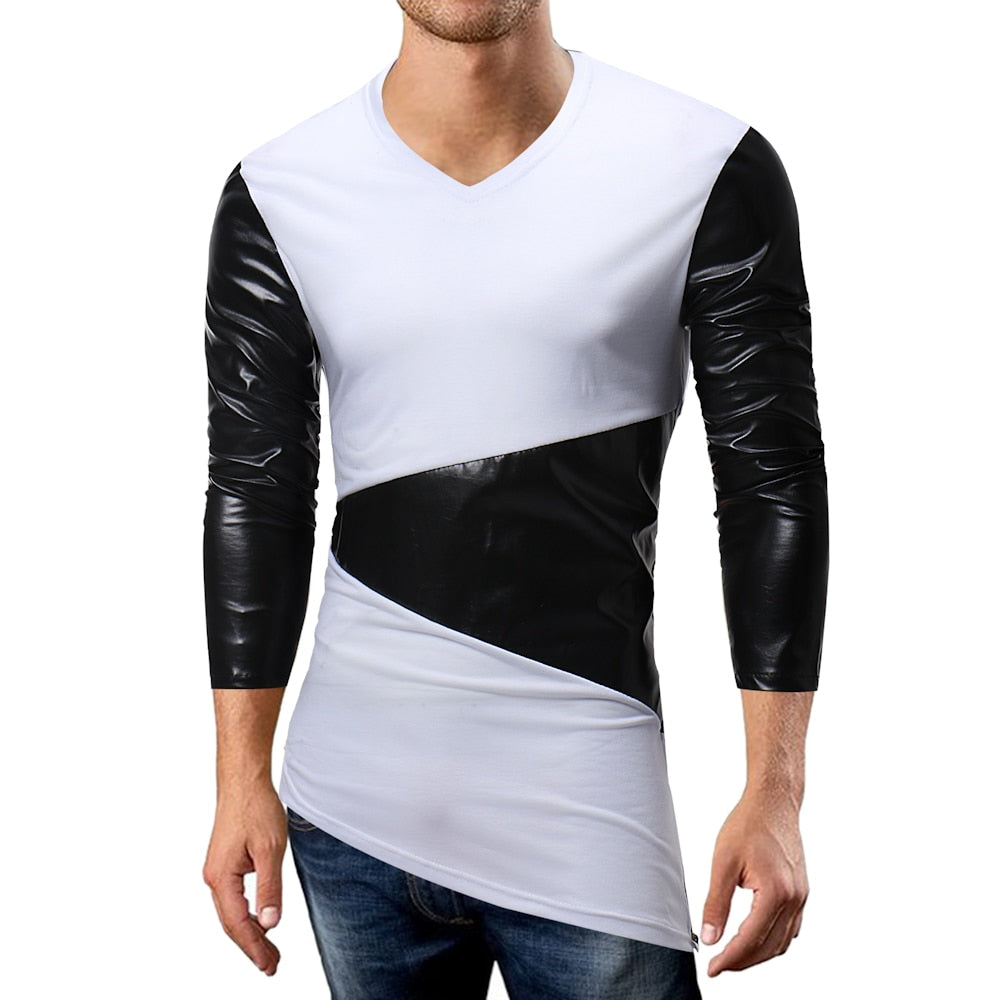 Patchwork Irregular Slim Fit V Neck Style Men T-Shirt