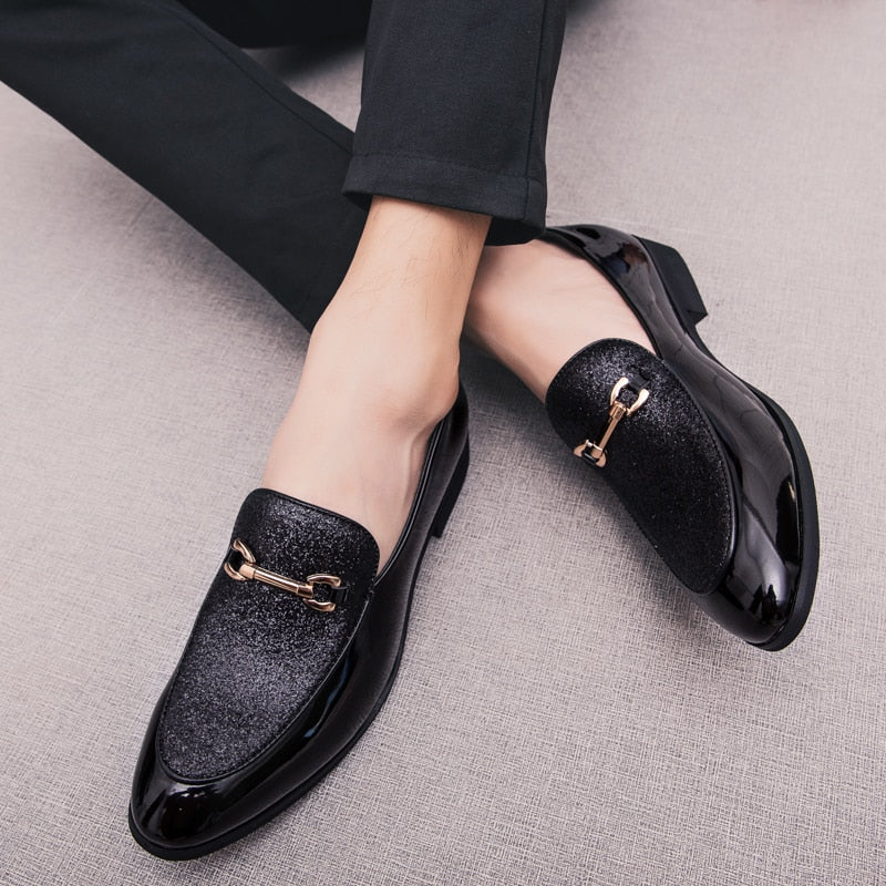Black Elegant Pointed Toe with Shine Dust Top Cover Design Men Loafers Shoes