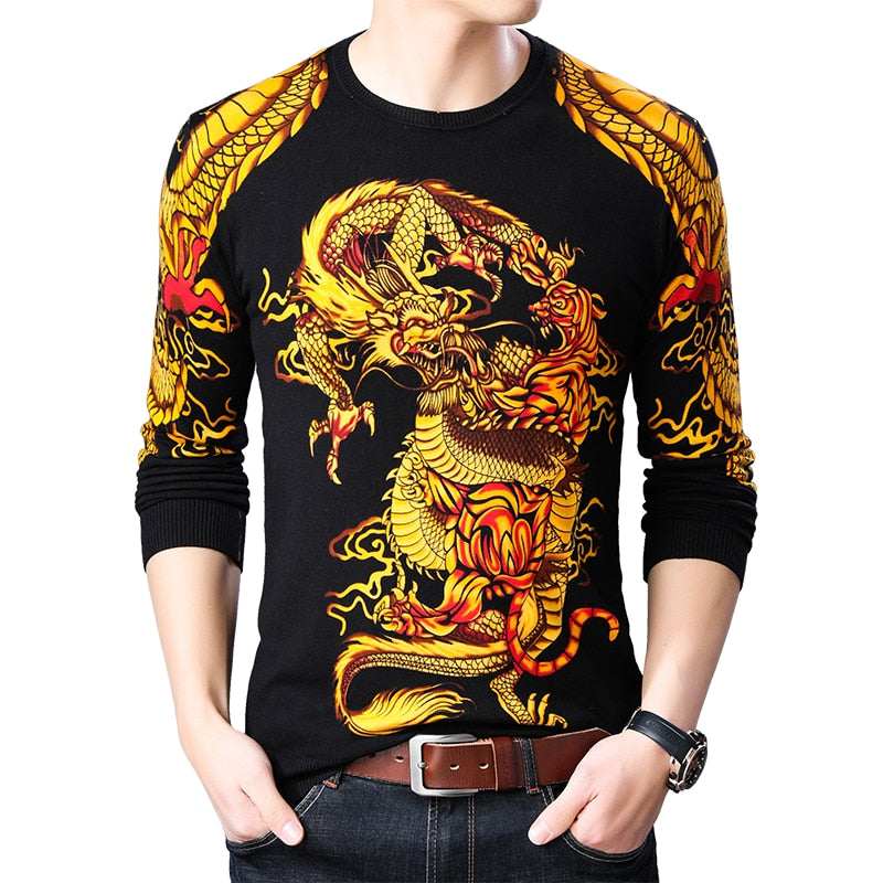 New Twin Gold Yellow Dragon Printed Slim Fit Men Pullover