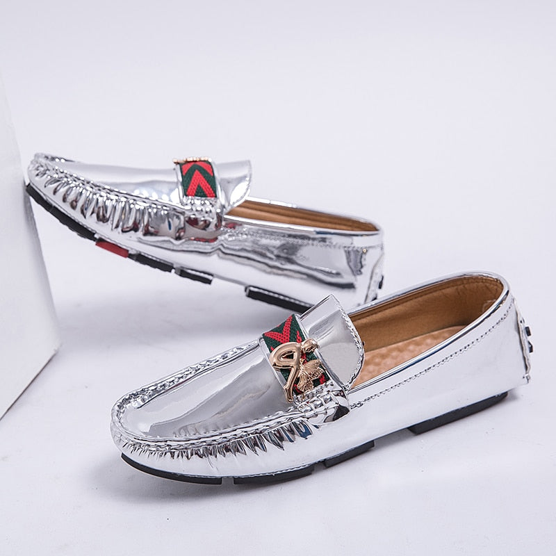 Fashion Loafers Men Shoes PU Gold Silver