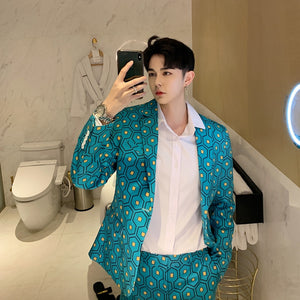 Lively Turquoise with Graph Pattern Design Men Suit