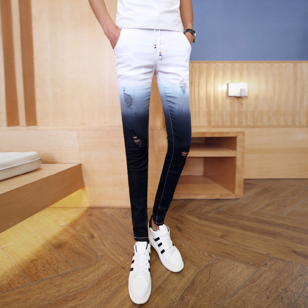 Contrast Gradient Slim Fit Ripped Casual Men Jeans
