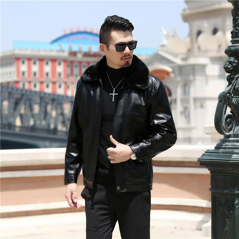 299541f668b8 Solid Thick Black with Fur Collar Men Faux Leather Jacket – FanFreakz