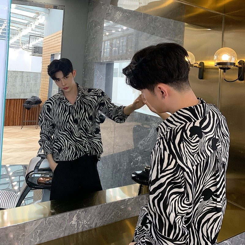 Black and White Zebra Pattern Print Men Long Sleeve Shirt - FanFreakz