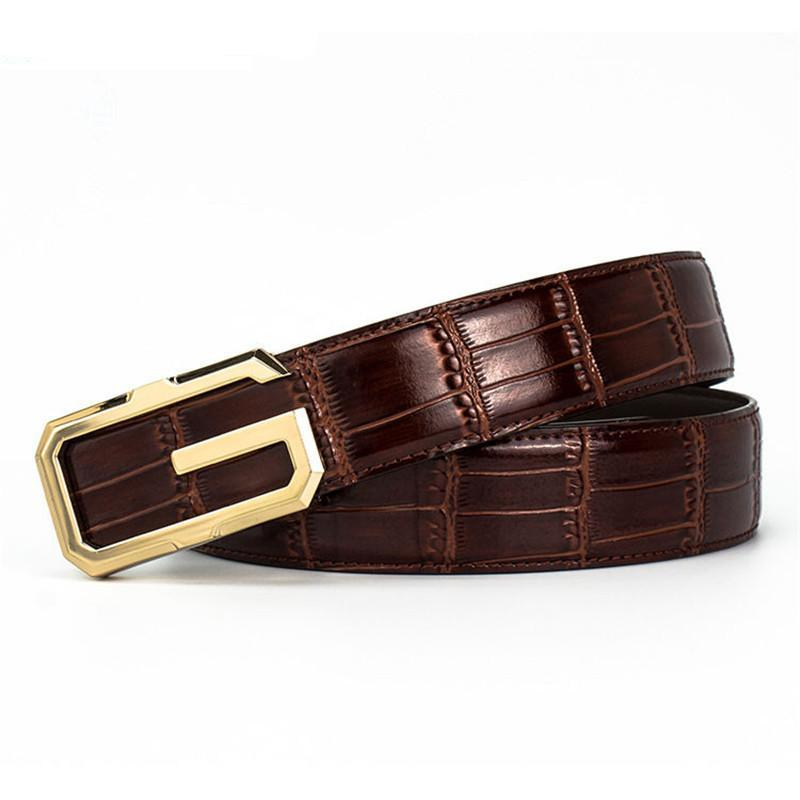 Strong Edgy G Shape Buckle Men Croco Pattern Leather Belt