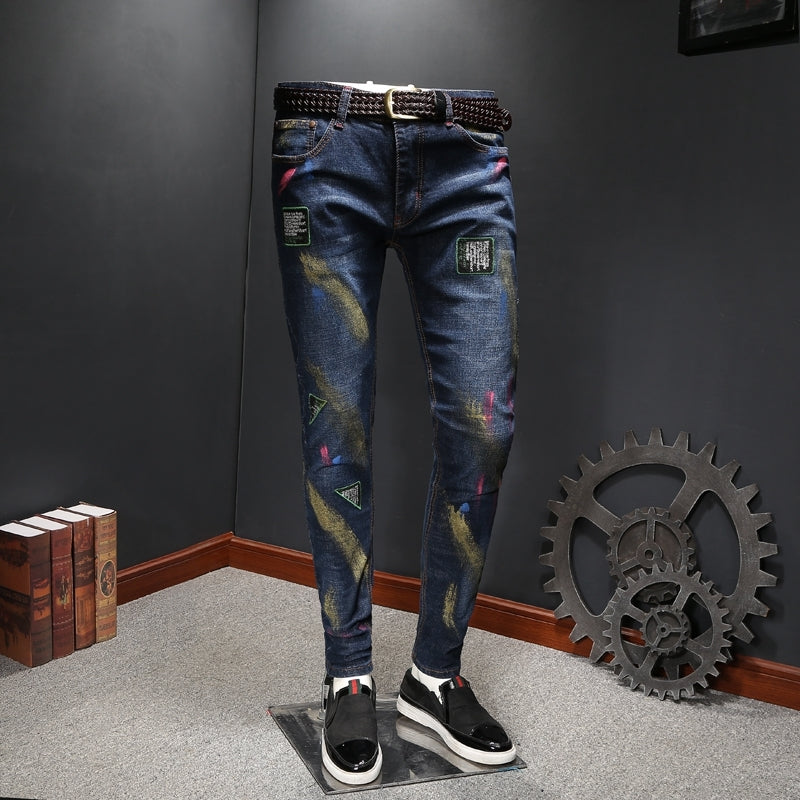 Paint Brush Style with Patch Detail Men Slim Fit Jeans