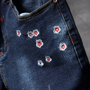 Sakura Flower Embroidery Men Slim Fit Ripped Jeans