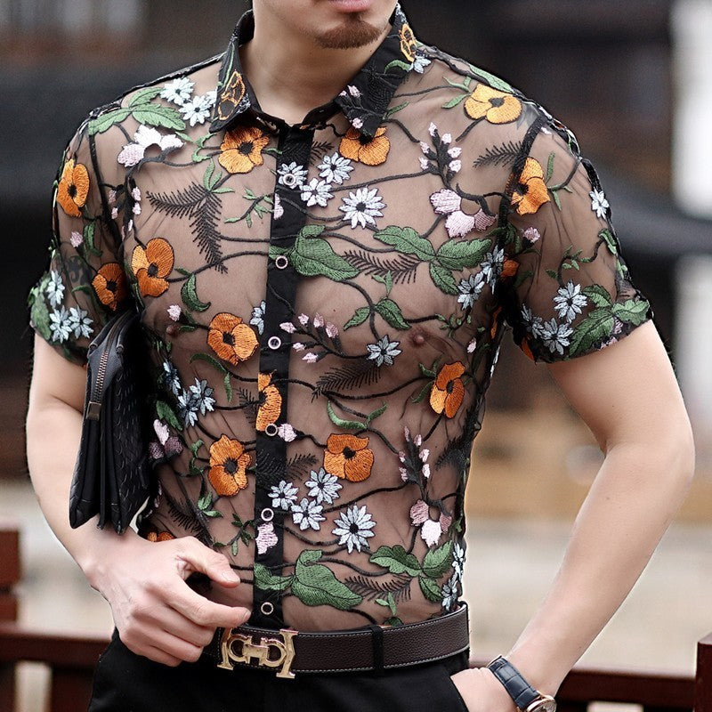 Orange Flower Embroidery See Through Men Short Sleeve Slim Fit Shirt - FanFreakz