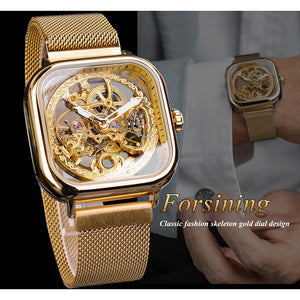 Transparent Skeleton Glass Mechanical Automatic Self Wind Men Watches