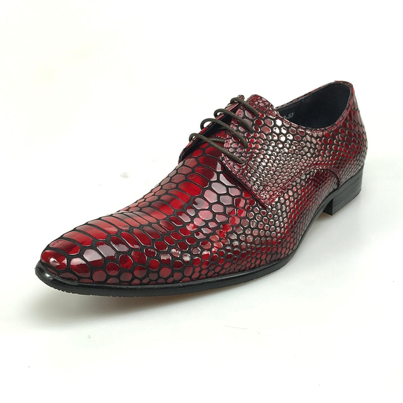 9c94d8ef4c4 Pointed Toe Red with Crocodile Textured Style Men Shoes – FanFreakz