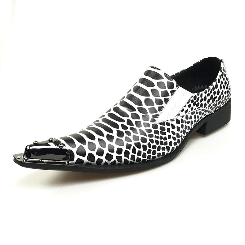 27c45140570a6 Snake Pattern Pointed Toe Men Loafer Shoe with Toe Metal Detail ...