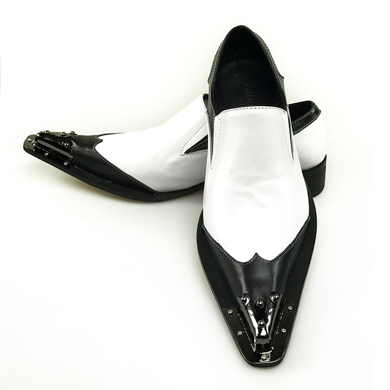 Black Metal Pointed Toe Classic Black and White Genuine Leather Patchwork Men Loafer Shoes