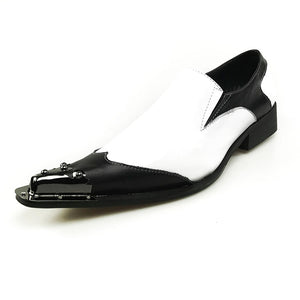 Black Metal Pointed Toe Classic Black and White Genuine Leather Patchwork Men Loafer Shoes - FanFreakz
