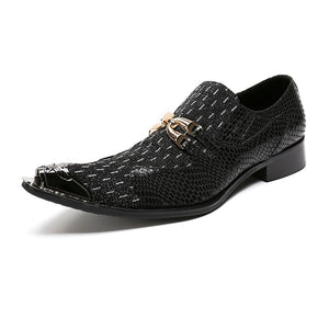 Luxury Pointed Toe Metal and Snake Pattern Patchwork Men Dress Shoes - FanFreakz