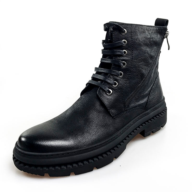 Black Casual Lace Up Men Mid Calf Leather Boots - FanFreakz