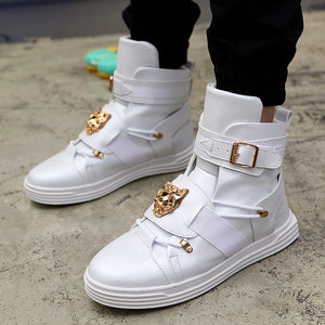 High Top Street Style with Gold Lion Ornament Detail Men Sneakers