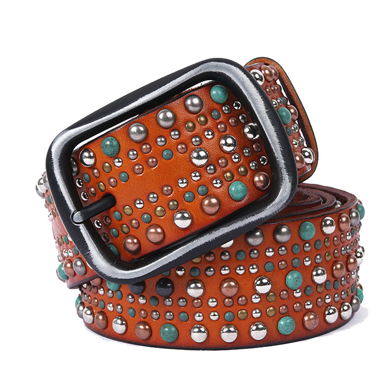 Geometric Pattern Beads Stitch Men Leather Belt