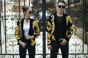 Oriental Gold Bold Dragon Embroidery Men Blazer for Stage Performer