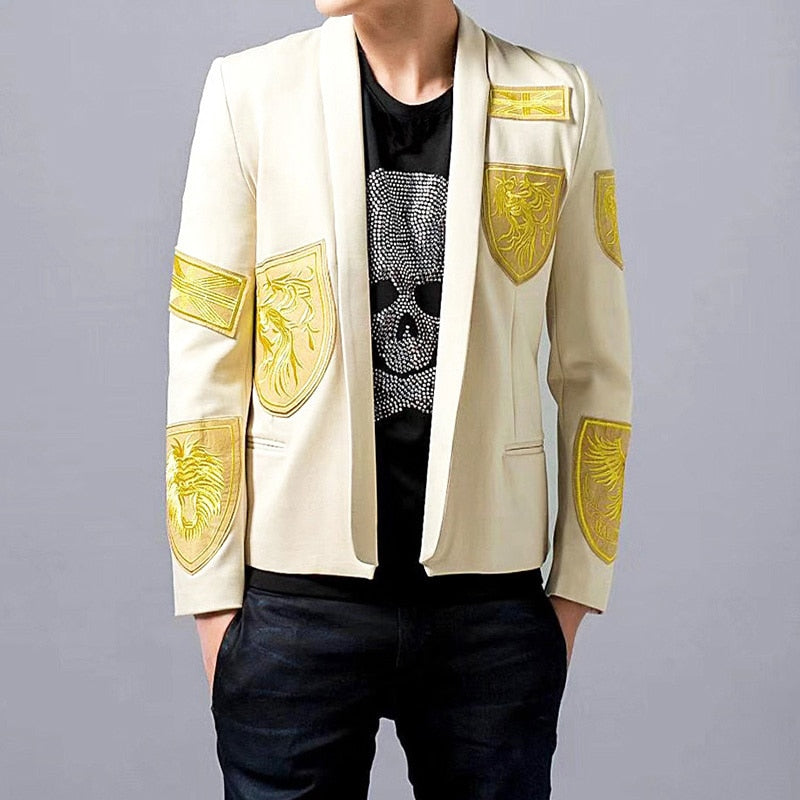 Stunning Gold Thread Embroidery Stage Style Men Slim Fit Blazer