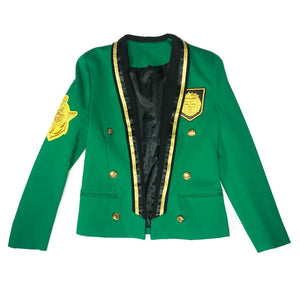 Luminous Green with Gold Badge Details Costume Style Men Blazer