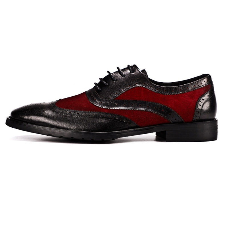 Pointed Toe Suede and Leather Cover Combination Men Brogue Shoes