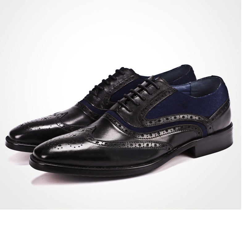Wingtip Brogue With Velvet Combination Men Leather Shoes Fanfreakz