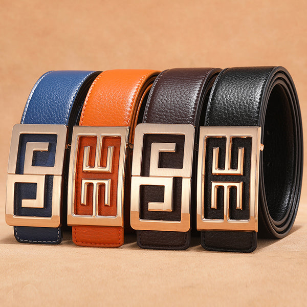 Golden Metal Buckle Men Classic Look Leather Belt