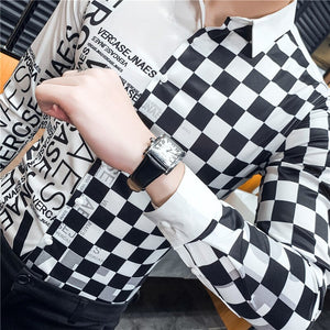 Black White Pop Print Slim Fit Long Sleeve Casual Men Shirts