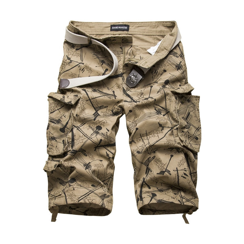 Cotton Cargo Retro Multi Pocket Style Men Shorts