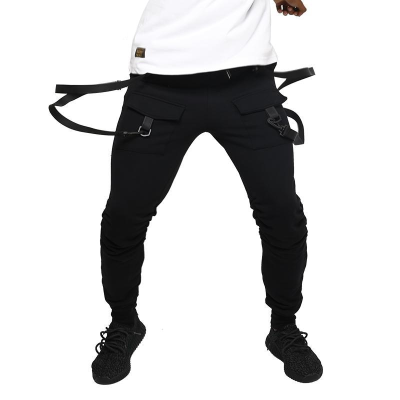 Suspender Style on Two Pockets Men Jogger Pants