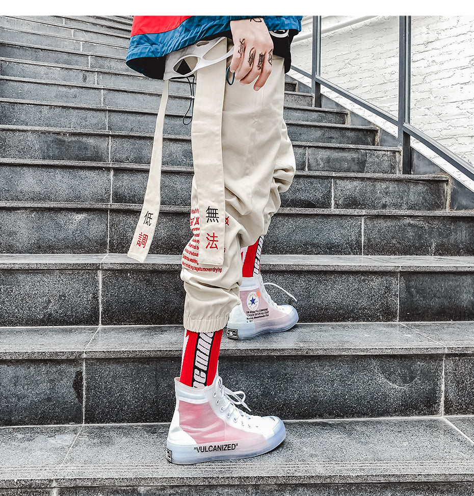 Chinese Letter Embroidery Dangling Ribbon Men Casual Streetwear Pants - FanFreakz