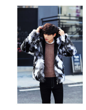 Black and White Fur Luxurious Men Jacket with Hoody - FanFreakz