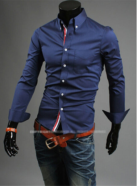 Slim Fit Big Collar Buttoned Men Men Dress Shirt