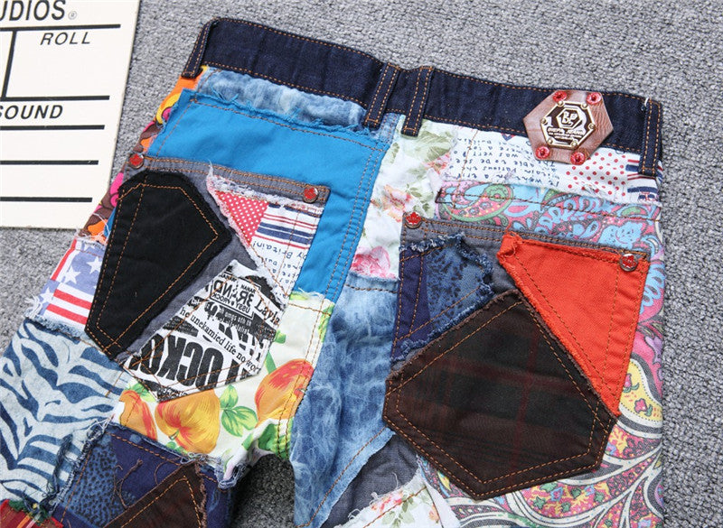 Crazy Multi Patchwork Men Jeans - FanFreakz