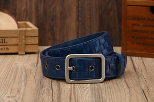 Tidy Square Shape Woven Leather Men Belt