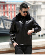 Solid Thick Black with Fur Collar Men Faux Leather Jacket