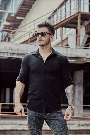 Italian Style Solid color Men Slim Fit Long Sleeves Shirt
