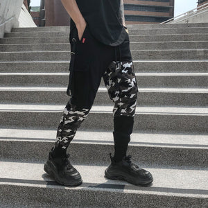 Mixed Patch Camouflage Hip Hop Men Ankle Length Jogger Pants